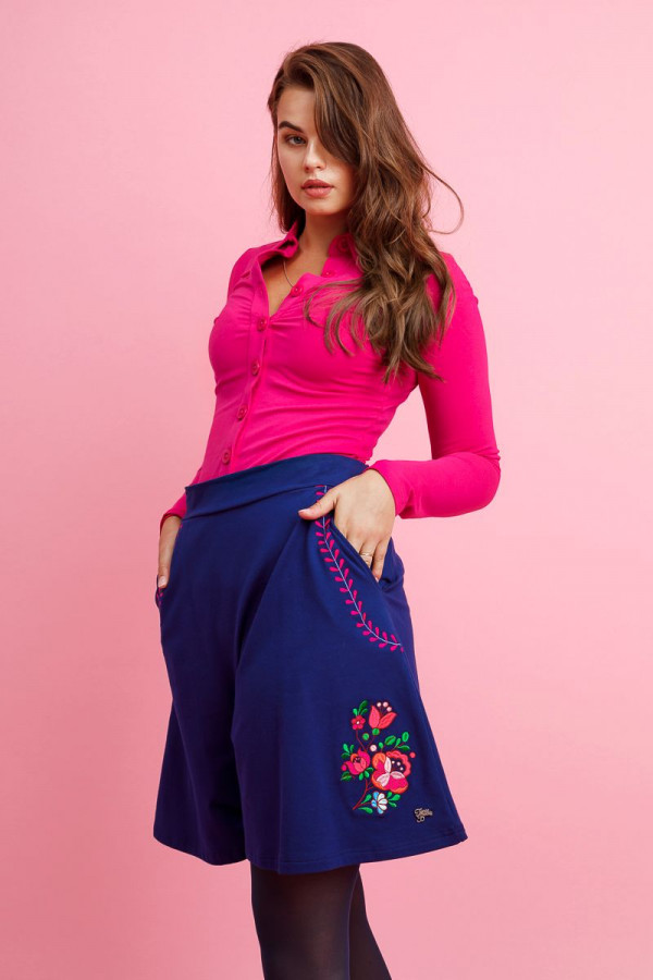 A LINE SKIRT FOLKI BLUE