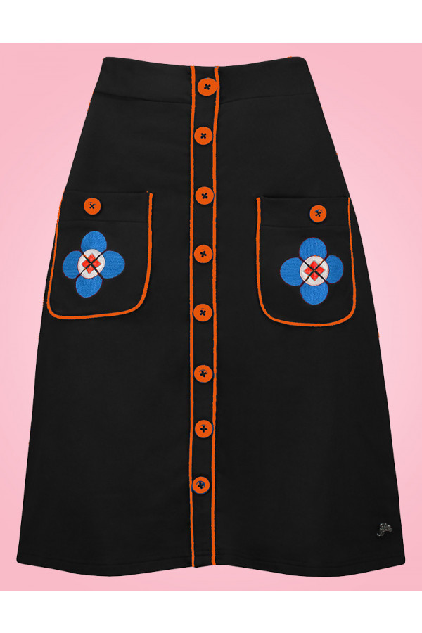BUTTON SKIRT BLACK