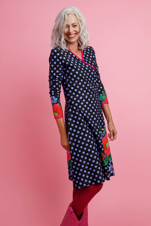 DRESS CHA CHA POPPY DOT BLACK