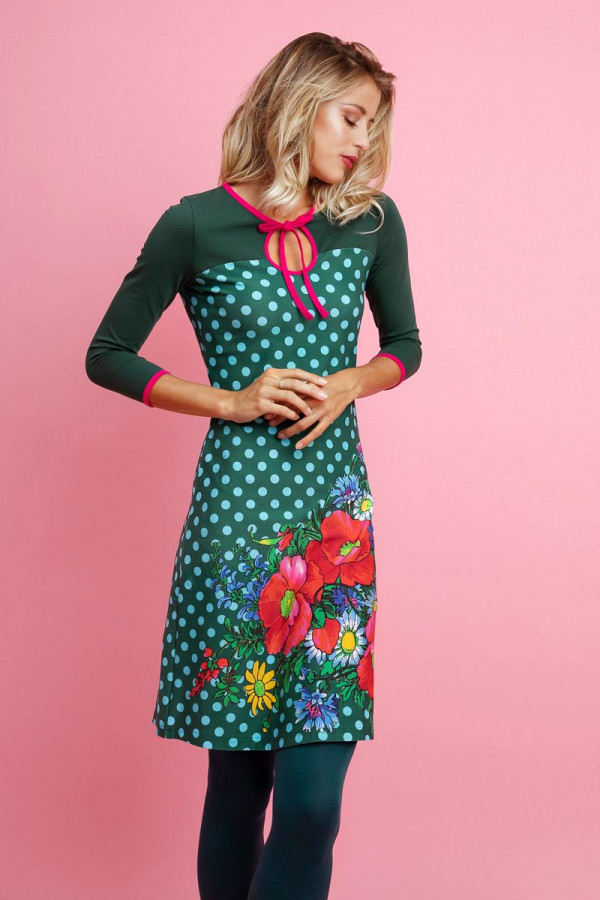 DRESS SWEETHEART POPPY DOT GREEN