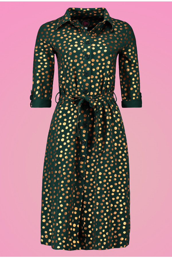 Shirt Dress MIDI Gold Dot Green