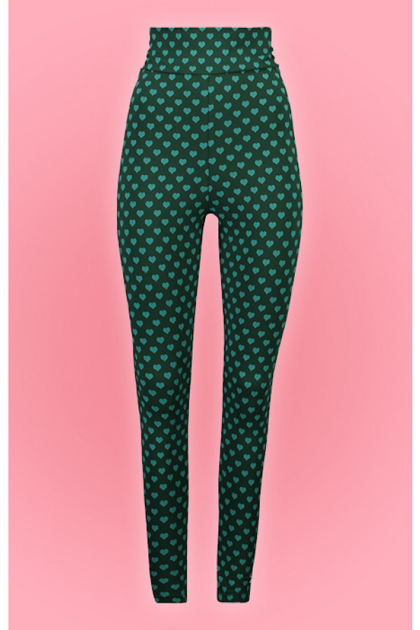 HIGH WAIST LEGGING HEARTS GREEN