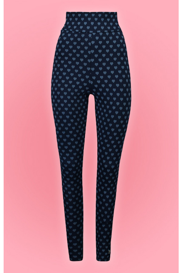 HIGH WAIST LEGGING HEARTS NAVY