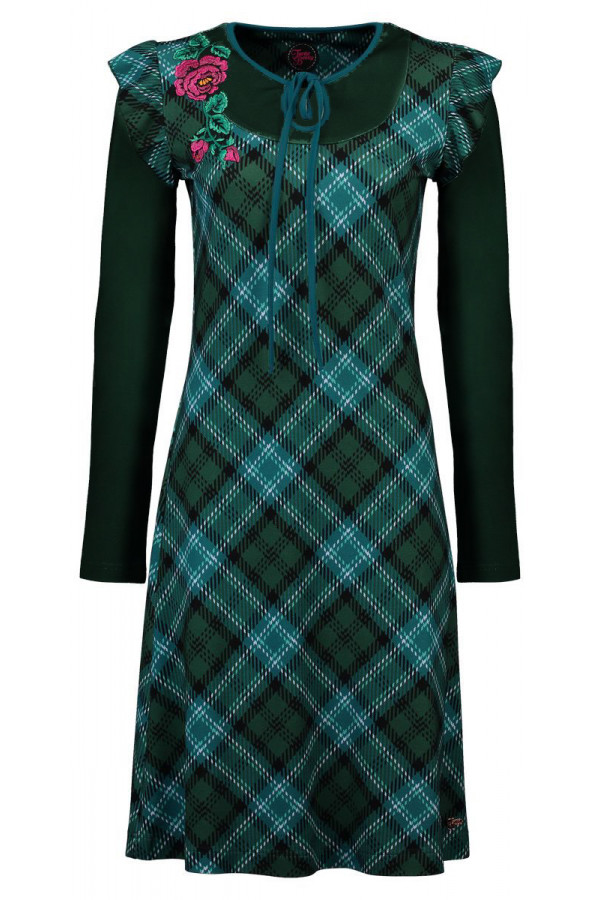 DRESS PAOLA TARTAN GREEN