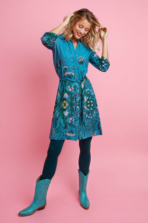 SHIRT DRESS DANDELION AQUA