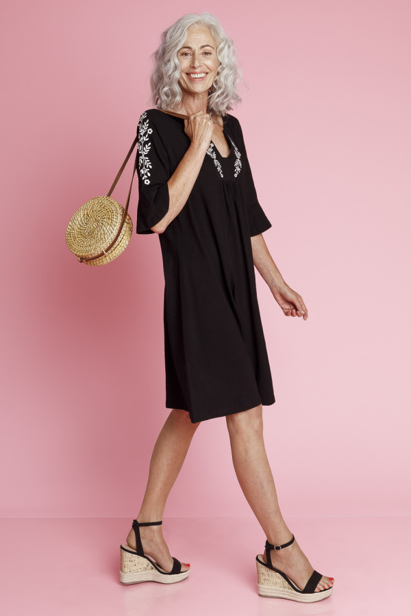 Tunic Dress Black Slub Branch
