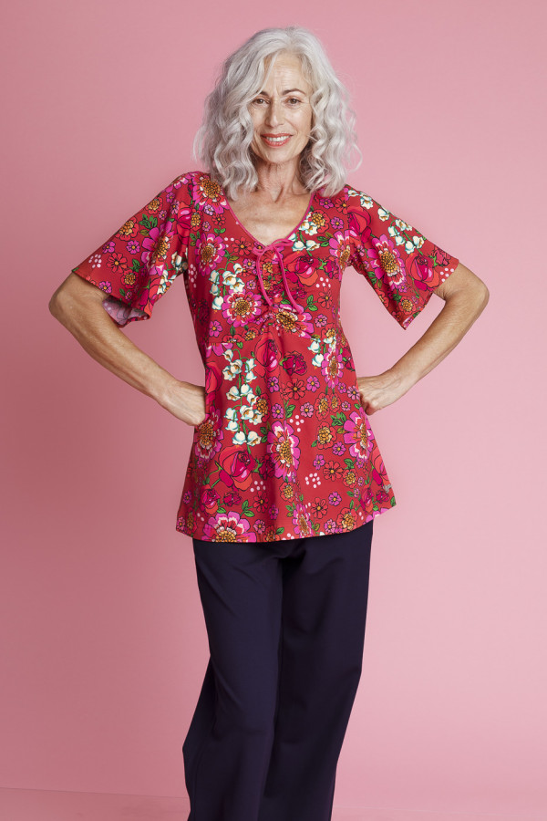 Tunic Butterfly Mod Flowers Red
