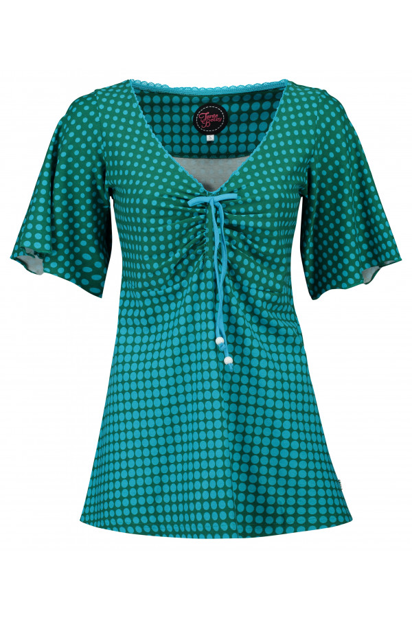 Top Butterfly Disco Dots Green